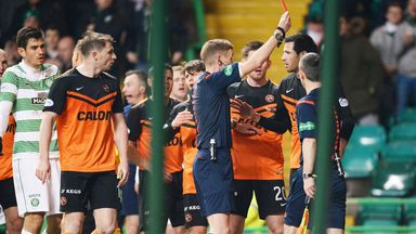 Dundee United defender Ryan McGowan is dismissed against Celtic