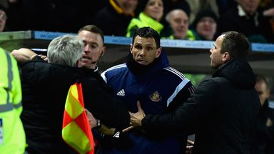 Steve Bruce and Gus Poyet clash