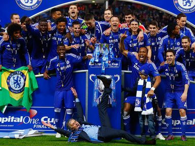 Jose Mourinho and Chelsea celebrate winning the Capital One Cup