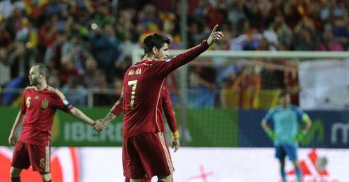 Alvaro Morata: Celebrates scoring the only goal of the game for Spain