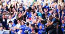 Eden Hazard celebrates scoring the opening goal against Manchester United
