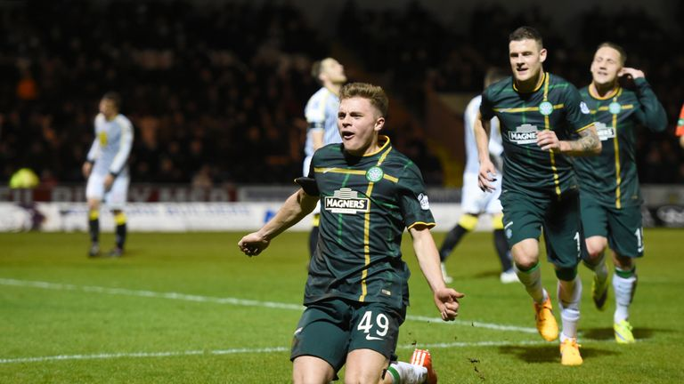 James Forrest celebrates Celtic's opening goal at St Mirren