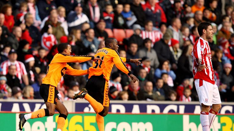 Maynor Figueroa of Wigan celebrates scoring against Stoke in 2009