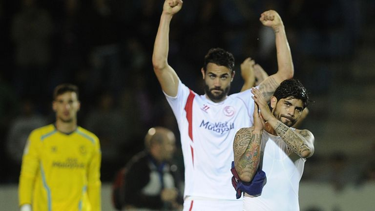 Sevilla celebrate their victory at Eibar