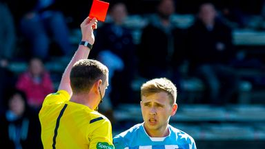 Dundee's Greg Stewart shown red card in 2-0 home defeat to St Johnstone