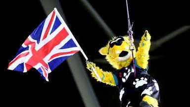 Jaxson de Ville the mascot of the Jacksonville Jaguars abseils into Wembley stadium last season