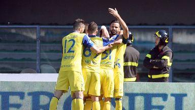 Chievo celebrate Sergio Pellissier's goal