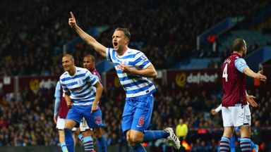 Clint Hill: Celebrates his goal at Villa Park