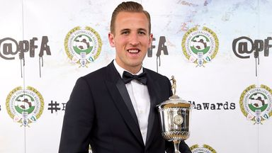 Harry Kane with his PFA Young Player of the Year trophy