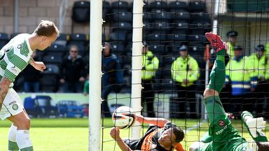 Leigh Griffiths bundles in his and Celtic's second goal of the afternoon