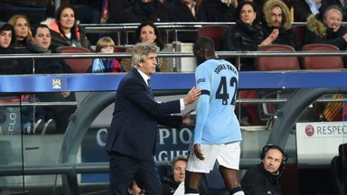Manuel Pellegrini consoles Manuel Pellegrini as he is substituted against Barcelona last month