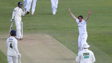 Mark Footitt celebrates taking a wicket for Derbyshire in the County Championship