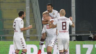 Maxi Lopez of Torino FC celebrates after scoring against Cesena