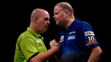 Michael van Gerwen (L):  Suffered a convincing loss against Raymond van Barneveld (Pic by Lawrence Lustig)