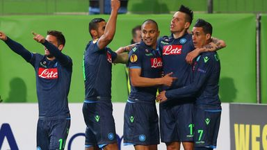 Napoli players celebrate during their 4-1 win at Wolfsburg
