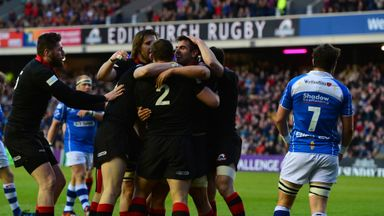 Stuart McInally is congratulated after scoring Edinburgh's first try