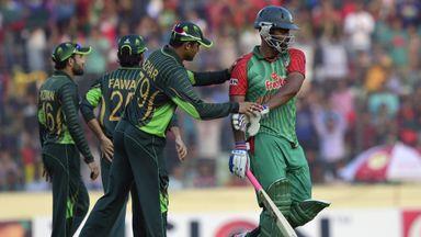 Pakistan captain Azhar Ali  congratulates Tamim Iqbal as he walks off