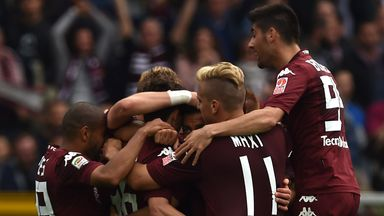 Matteo Darmian celebrates scoring Torino's equaliser against Juventus