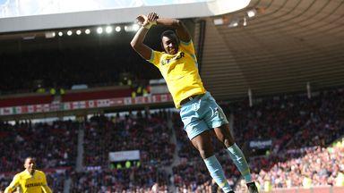 Yannick Bolasie celebrates after scoring against Sunderland last season