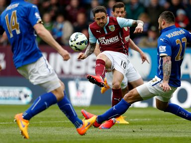 Burnley's Danny Ings has a shot on goal in the first half