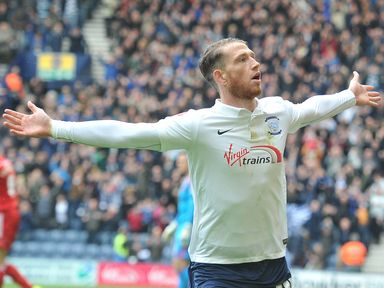 Preston North End's Joe Garner celebrates scoring his team's first goal