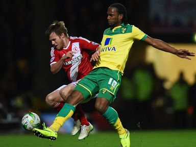 Tomas Kalas  is challenged by Cameron Jerome