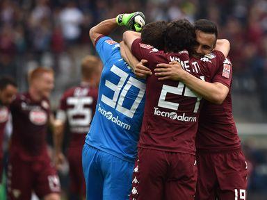 Torino celebrate their victory over Juventus