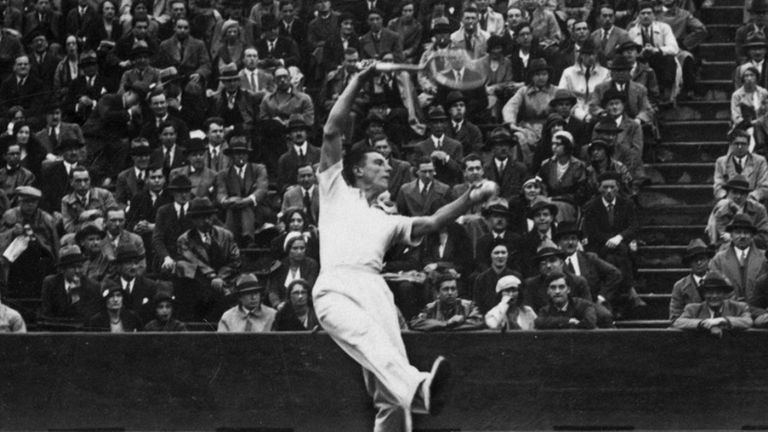 Fred Perry in action at the 1930 French Open