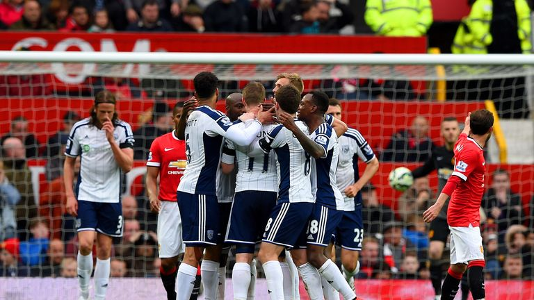 West Brom Players Celebrate Their Winning Goal Against Manchester United