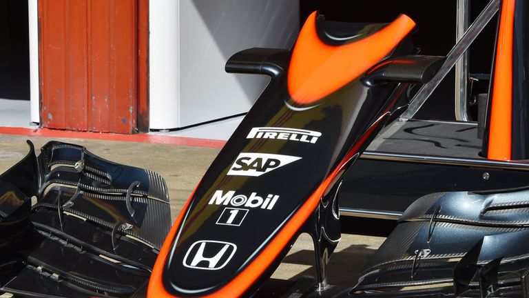 McLaren MP4-30 front wing detail in the Barcelona paddock ahead of this weekend's Spanish GP