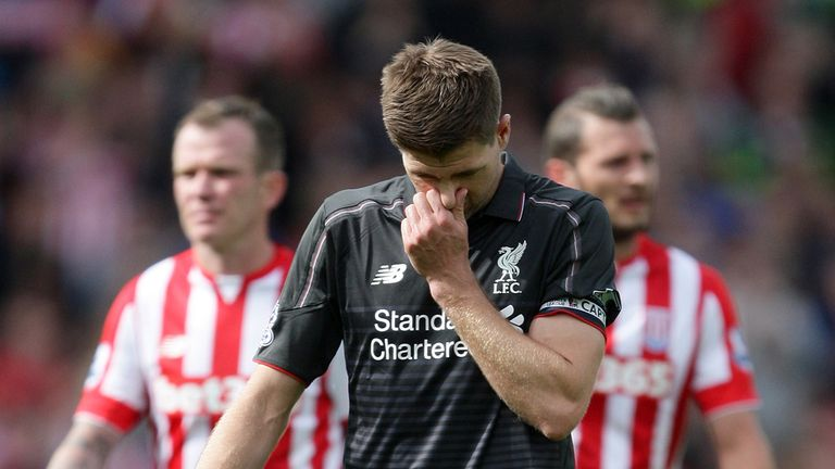 Gerrard's final game for Liverpool ended in a 6-1 defeat at Stoke