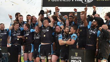Glasgow captain Alastair Kellock celebrates with his team mates after victory in the Pro12 final