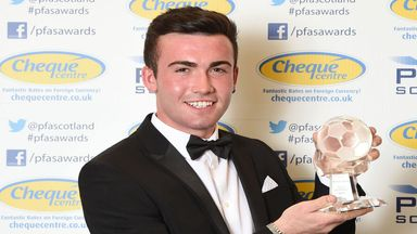 Stephen Mallan with his PFA Scotland Goal of the Season award