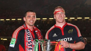 Alan Quinlan and Paul O'Connell celebrate with the Heineken Cup trophy in 2008