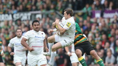 Alex Goode: Catches the ball under pressure from George Pisi