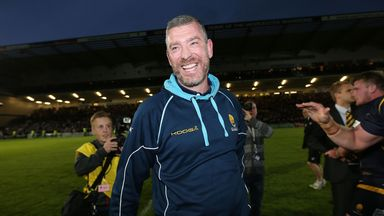Worcester coach Dean Ryan celebrates