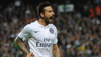 PSG forward Ezequiel Lavezzi celebrates after scoring against Montpellier