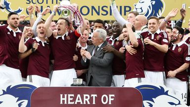The party starts at Hearts who lift the trophy following their 2-2 draw at Tynecastle against Ranhers