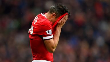 Van Persie reacts to his saved penalty against West Brom