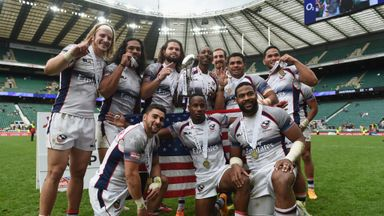 The USA team celebrate after their victory at the London Sevens