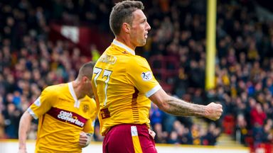 Scott McDonald celebrates after firing Motherwell ahead at Fir Park