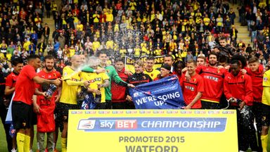 Watford players celebrate promotion at Vicarage Road