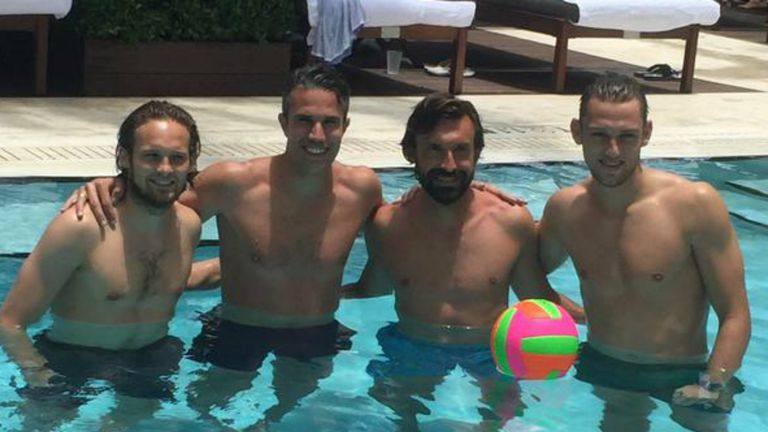 Pirlo keeping cool in the pool video watch tv show for Pool show tv
