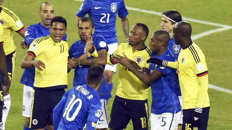 Neymar sparks a reaction from Colombia players at full-time which saw him banned for four matches after a headbutt