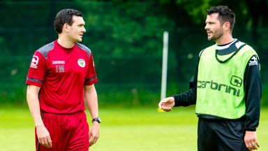 Ian Murray (left) and Steven Thompson on first day back for pre-season training with St Mirren.