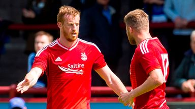 Aberdeen's Adam Rooney (left) celebrates his goal with team-mate David Goodwillie