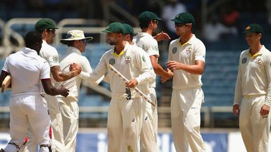 Australia celebrate after beating West Indies in Jamaica