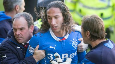 Rangers defender Bilel Mohsni was escorted off after the brawl at Motherwell