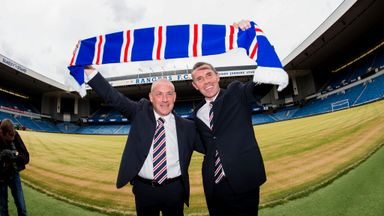 New Rangers manager Mark Warburton (left) and his assistant and former Ibrox star David Weir unveiled at Ibrox.