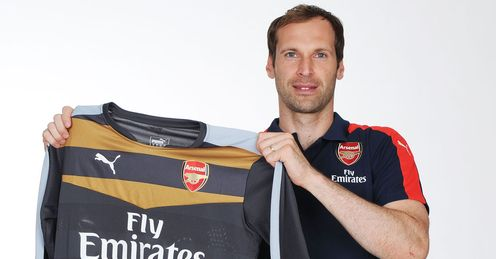 Petr Cech: With his new Arsenal shirt